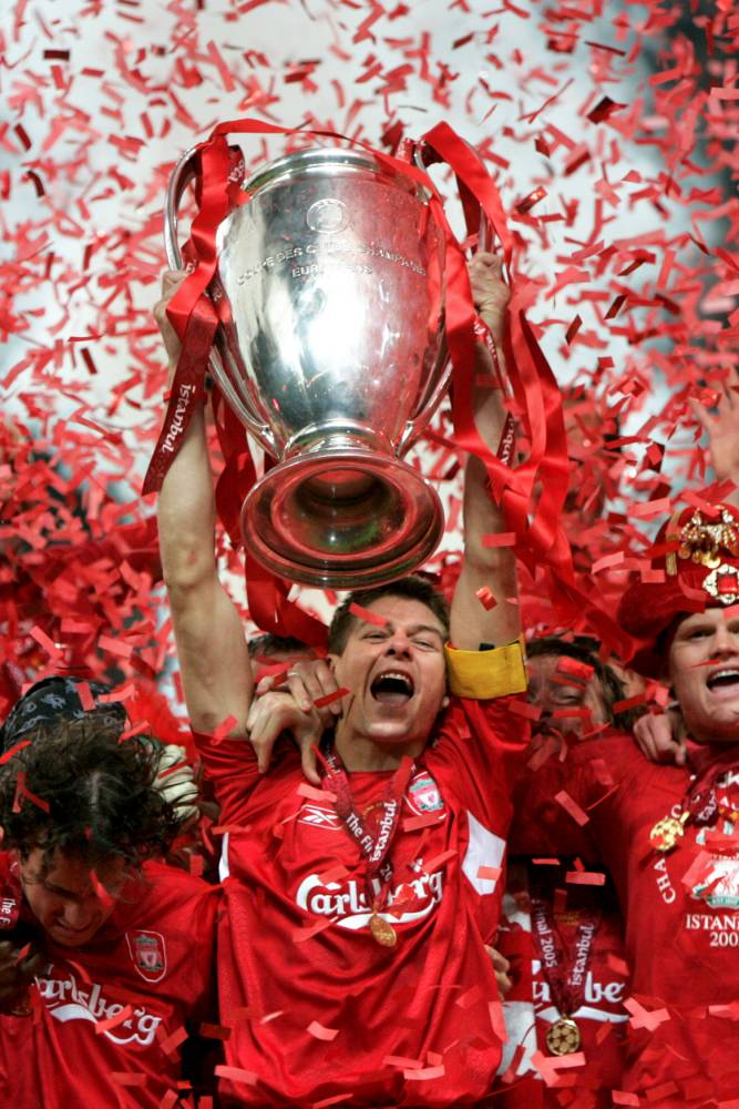 File photo dated 25-05-2005 of Liverpool captain Steven Gerrard lifting the UEFA Champions League trophy. PRESS ASSOCIATION Photo. Issue date: Friday January 2, 2015. Liverpool captain Steven Gerrard is set to announce he is to leave his boyhood club at the end of the season, Press Association Sport understands. See PA story SOCCER Liverpool. Photo credit should read Phil Noble/PA Wire.