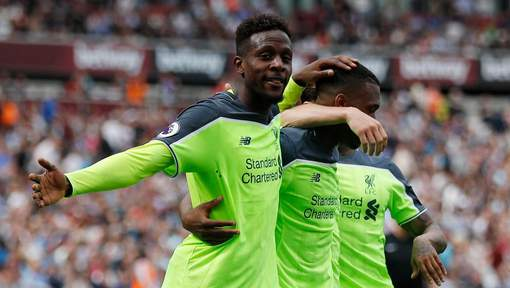 "Britain Soccer Football - West Ham United v Liverpool - Premier League - London Stadium - 14/5/17 Liverpool's Divock Origi celebrates scoring their fourth goal Reuters / Peter Nicholls Livepic EDITORIAL USE ONLY. No use with unauthorized audio, video, data, fixture lists, club/league logos or ""live"" services. Online in-match use limited to 45 images, no video emulation. No use in betting, games or single club/league/player publications. Please contact your account representative for further details. © PHOTO NEWS / PICTURE NOT INCLUDED IN THE CONTRACTS ! only BELGIUM !"