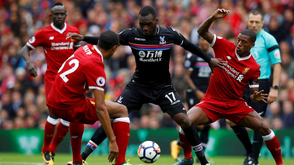 "Soccer Football - Premier League - Liverpool vs Crystal Palace - Liverpool, Britain - August 19, 2017 Crystal Palace's Christian Benteke in action with Liverpool's Georginio Wijnaldum (R) Sadio Mane (L) and Joel Matip REUTERS/Phil Noble EDITORIAL USE ONLY. No use with unauthorized audio, video, data, fixture lists, club/league logos or ""live"" services. Online in-match use limited to 45 images, no video emulation. No use in betting, games or single club/league/player publications. Please contact your account representative for further details."