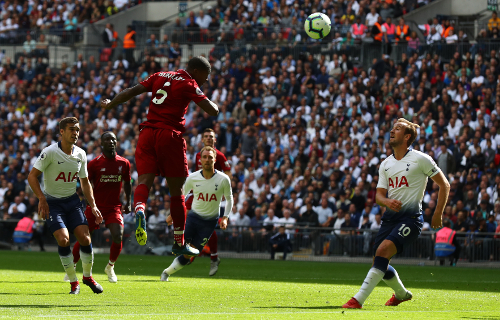 during the Premier League match between Tottenham Hotspur and Liverpool FC at Wembley Stadium on September 15, 2018 in London, United Kingdom.